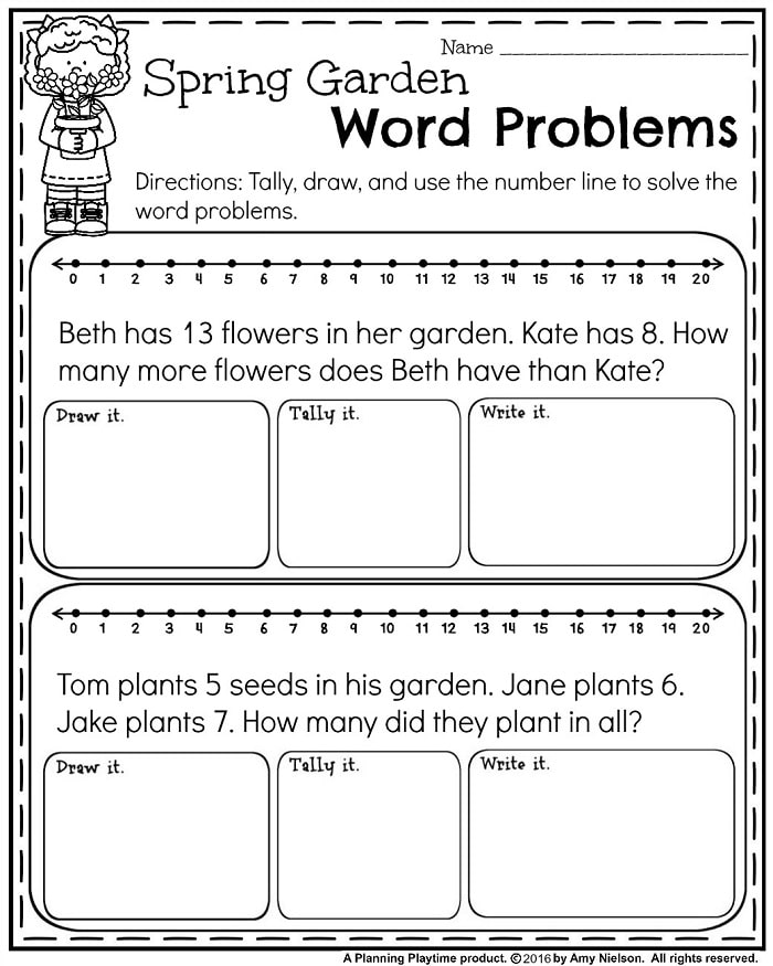 May First Grade Worksheets for Spring - Planning Playtime