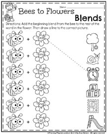 First Grade Worksheets for May - Beginning Blends.