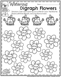First Grade Worksheets for May - Watering Digraph Flowers.