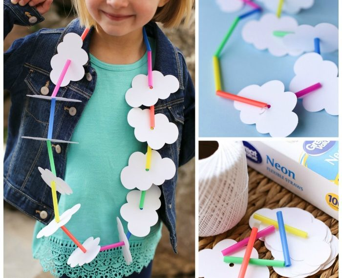 Fun Clouds and Rainbow Necklace Craft for kids.