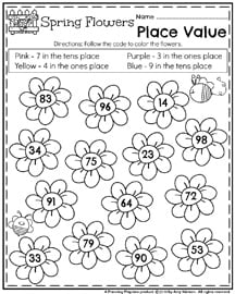 May Kindergarten Worksheets - Spring Flowers Place Value