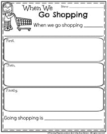 Narrative Writing Prompts for Spring or anytime - When We Go Shopping.