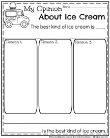 Opinion Writing Prompts for First Grade - My Opinion About Ice Cream.