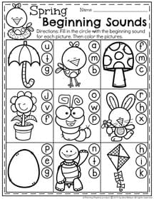 Preschool Beginning Sounds Worksheet for Spring.