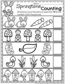 Preschool Counting Worksheet for Spring.