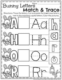 Preschool Letter Match and Trace Worksheets for April.