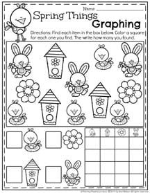 Preschool Math Worksheets - Spring Things Graphing.