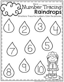 Preschool Number Tracing Worksheet for April.