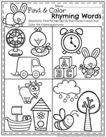 Preschool Rhyming Worksheets for April.