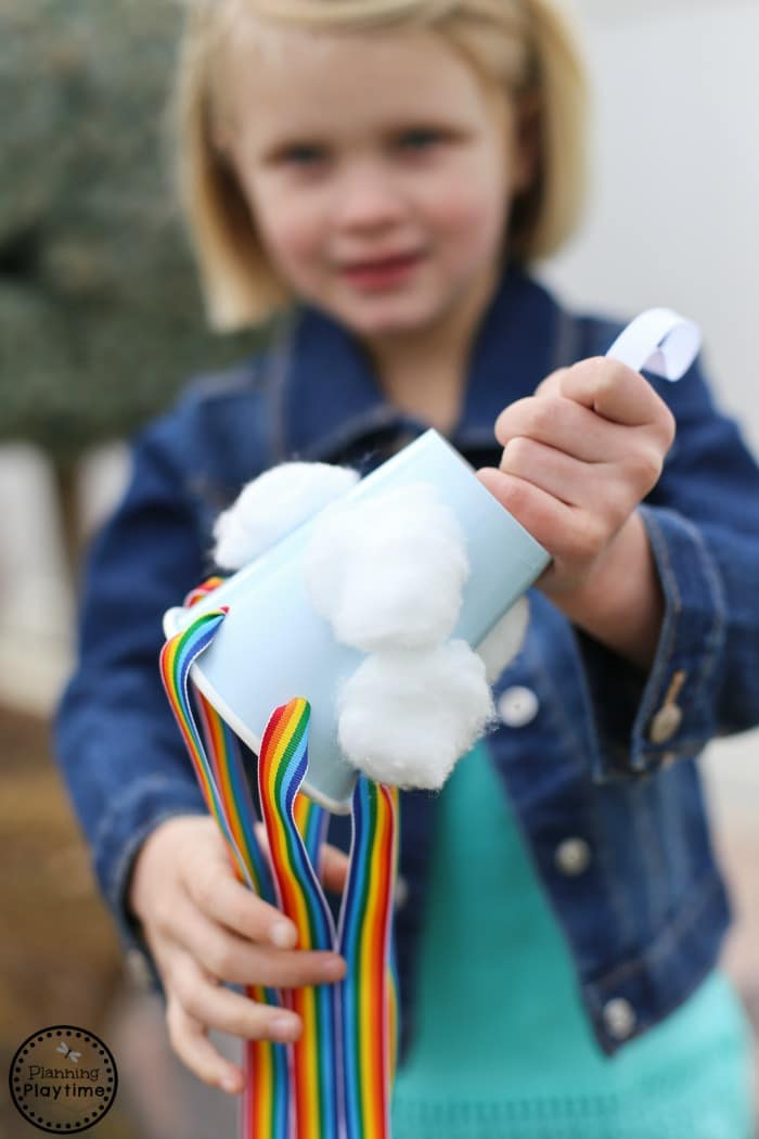 Rainbow Windsock Craft for Kids with Cotton Balls