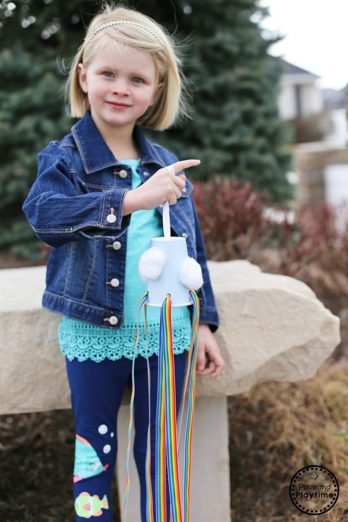 Rainbow Windsock Craft for Kids with Ribbon