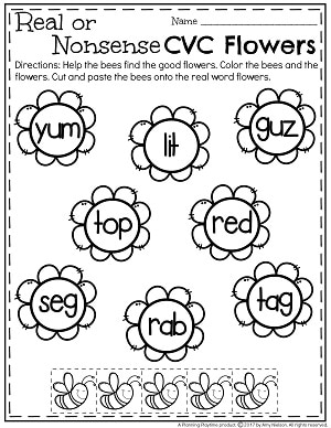 Real or Nonsense CVC Words Worksheets - Bees on Flowers