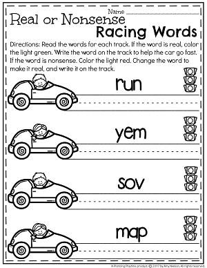 Real or Nonsense Racing Words Worksheets