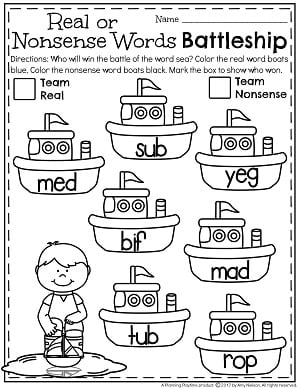 Real or Nonsense Words Battleship Worksheets