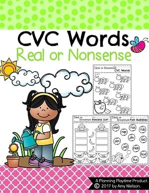 Real or Nonsense CVC Words Worksheets