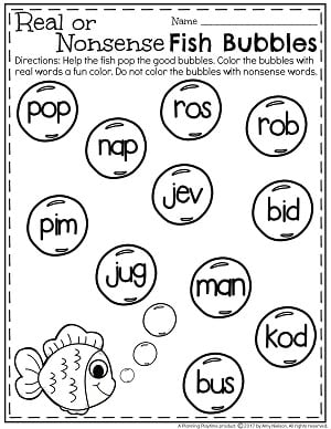 Real or Nonsense Words Worksheets - Bad Fish Bubbles