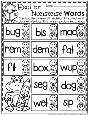 Real or Nonsense Words Worksheets with Emojis
