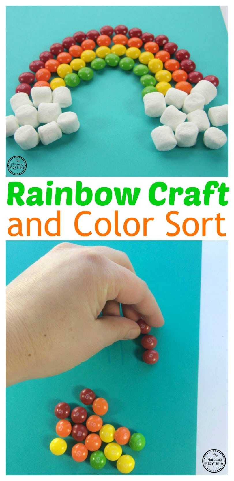 Skittles Rainbow Craft and Color Sorting Activity for kids.
