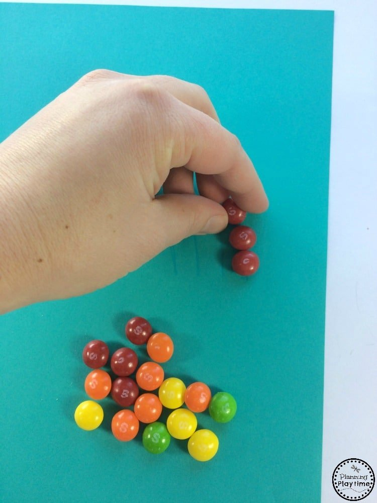 Skittles Rainbow Craft and Color sort activity for kids.