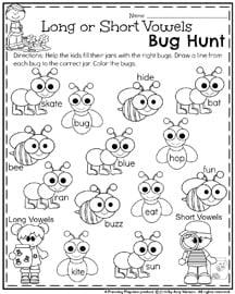 Spring First Grade Worksheets - Long and short vowels