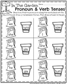 Spring First Grade Worksheets - Pronoun and Verb Tenses.