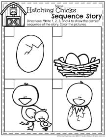 Spring Preschool Worksheet - Hatching Chicks Sequence Story