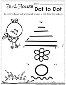 Spring Preschool Worksheets for April - Birdhouse Dot to Dot