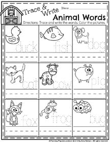 Spring Preschool Worksheets for April - Trace and Write Animal Names