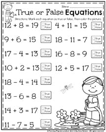 True or False Equations Worksheets for First Grade.