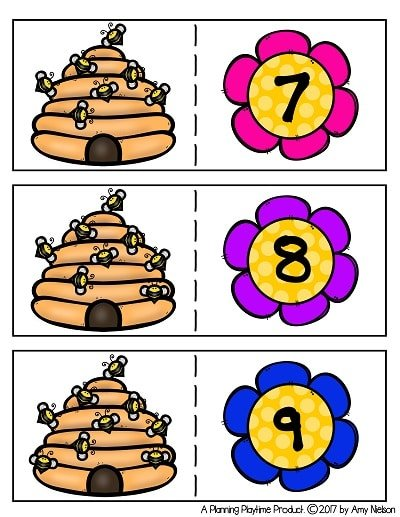 Bee Counting Puzzles for Preschool