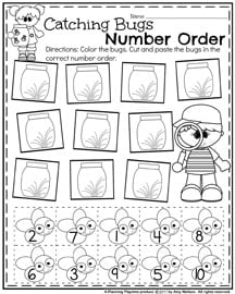 Catching bugs Number Nrder worksheet for Preschool