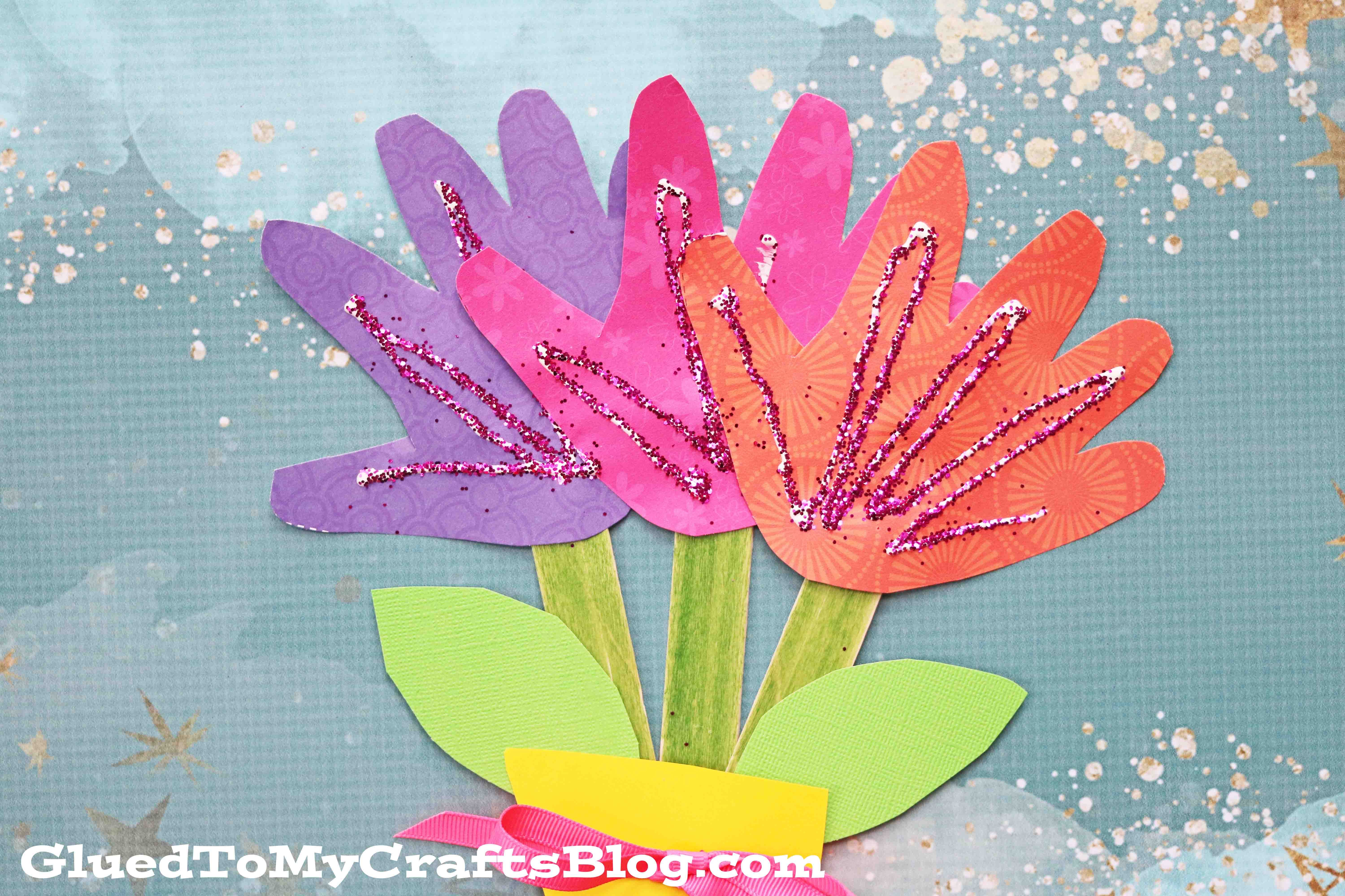 Cute Handprint Flowers Mother's Day Craft for Kids.