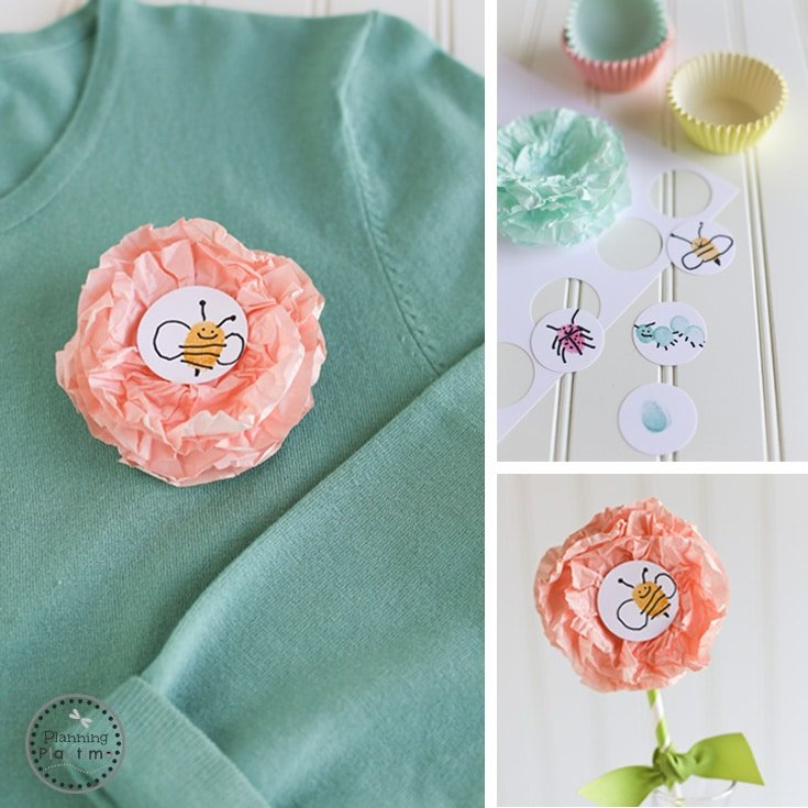 DIY Mother's Day Craft for kids - Cupcake Liner Flower Corsage