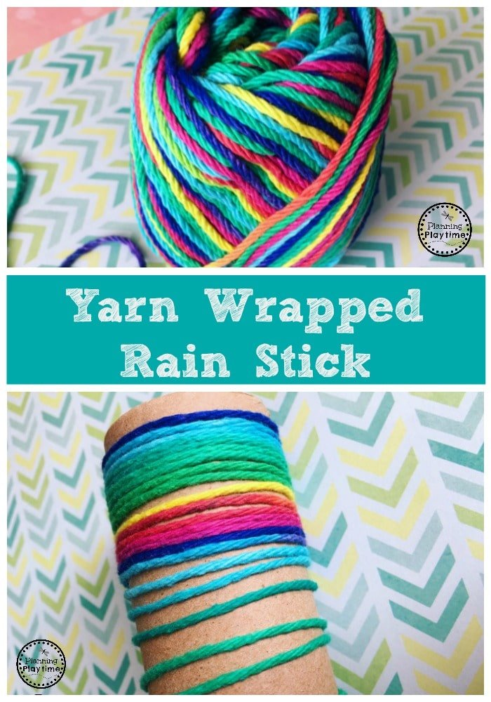 Yarn Wrapped Rain Stick Craft for kids.