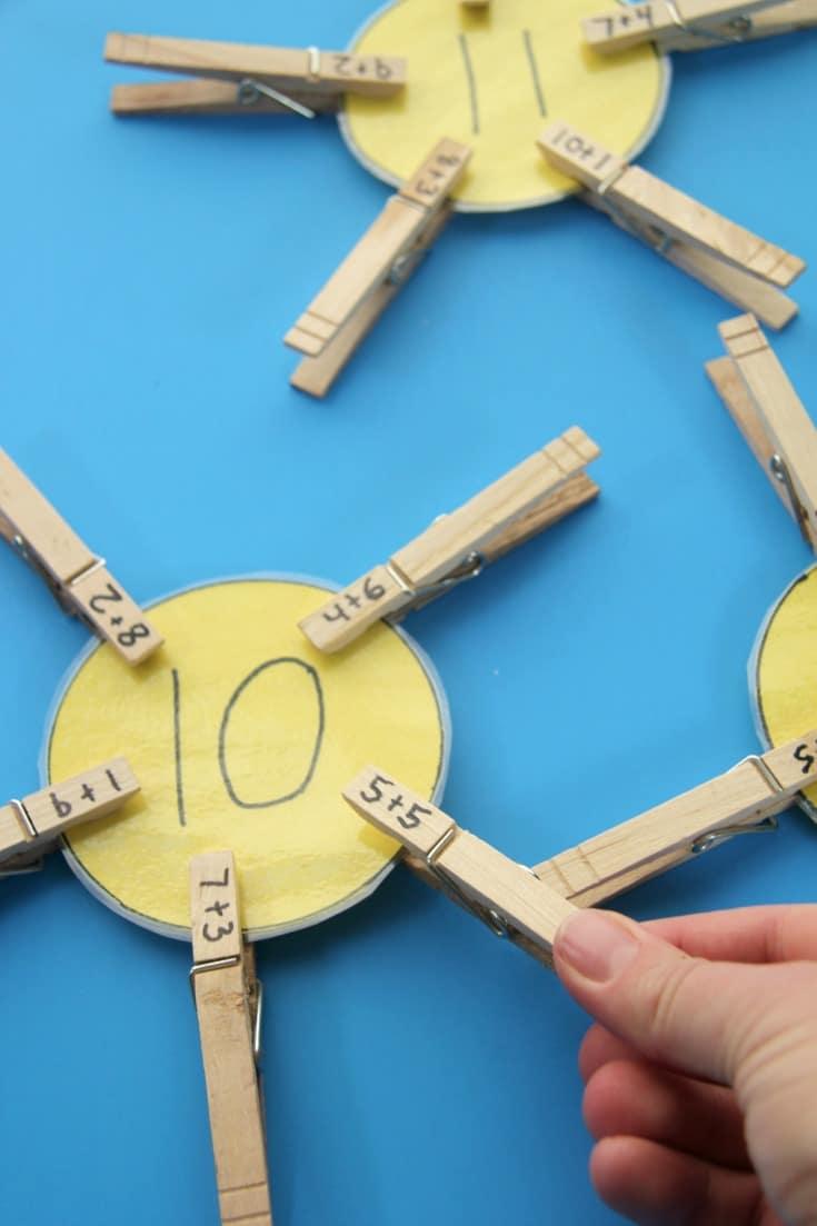 Fact Family Suns Math Activity for Kindergarten.