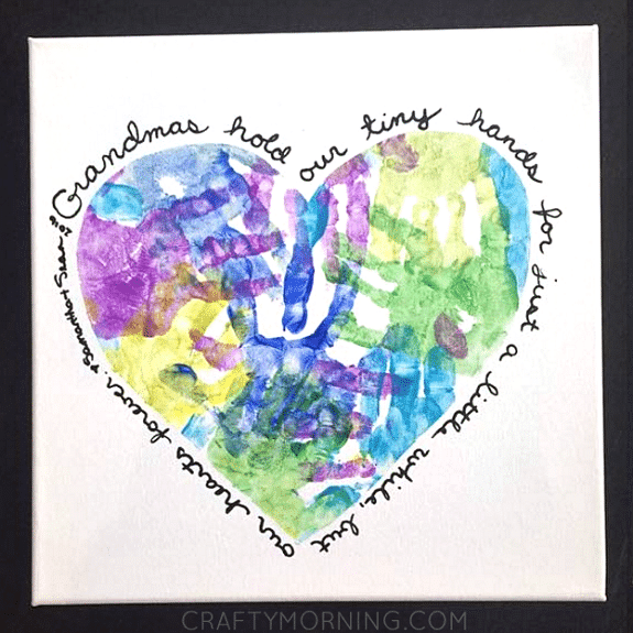 Heart Handprint Mother's Day Craft for Grandma or Mom.