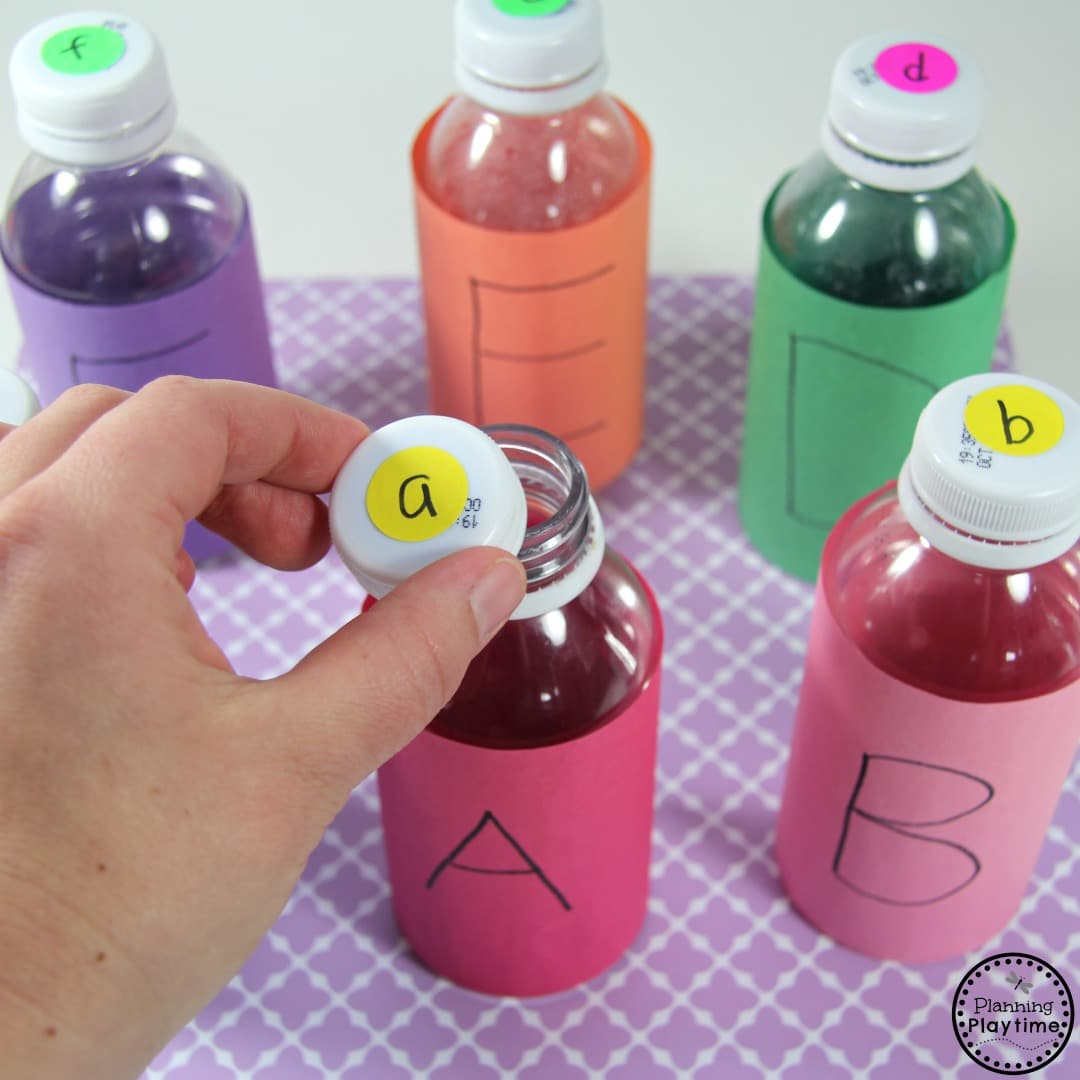 Juice Bottle Letter Matching Activity for Preschool