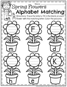 May Preschool Worksheets - Alphabet Letter Matching I