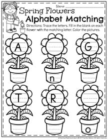 May Preschool Worksheets - Alphabet Letter Matching II