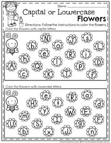 May Preschool Worksheets - Capital or Lowercase Letter Sort