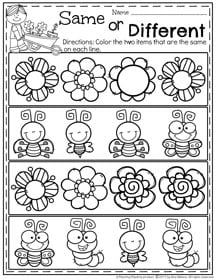 May Preschool Worksheets - Same or Different