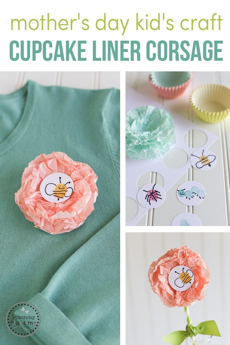 Mother's Day Craft for Kids - DIY Cupcake Liner Flower Corsage