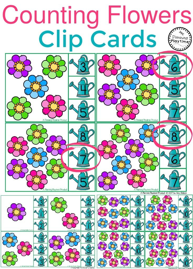 Preschool Clip Counting Cards for kids.