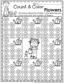 Preschool Counting Worksheet for May