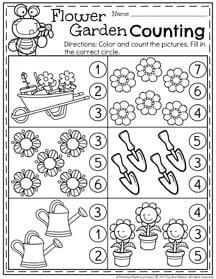 Preschool Counting Worksheets for Spring.