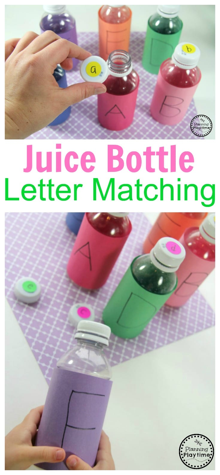 Preschool Letter Matching Activity using Juice Bottles