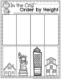 Preschool Measurement Worksheets for Spring