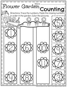 Preschool Number Order Worksheet for Spring - Flower Garden Counting.