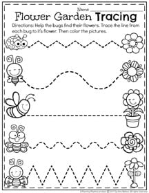 Preschool Tracing Worksheet for Spring.