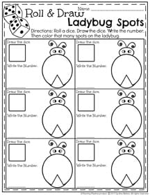 Roll, Count and Color Ladybug Spots - May Preschool Worksheet